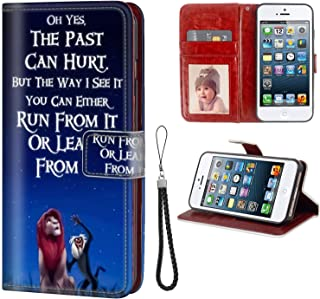 DISNEY COLLECTION iPhone 5, iPhone 5S, iPhone SE, iPhone 5/5S/SE Wallet Case The Lion King and The Monkey Cute Cartoon Shockproof Bumper Cards Kickstand Protective Cover Faux Leather