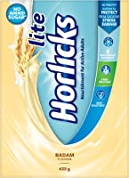 Horlicks Lite Badam Flavour Health & Nutrition Drink For Adults 450 g Refill Pack, High Protein & Nutrients For Immunity...