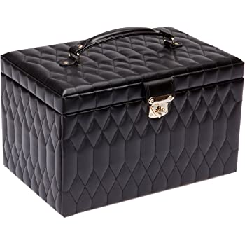 WOLF Caroline Extra Large Jewelry Case, 10.5x16.25x11, Black