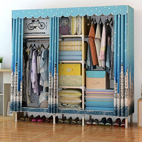 Felices compras MMM& Cloth Wardrobe Large Simple económica Steel Pipe Bold Bold Bold Reinforcement Double Assembly Armarios (Color    1)  garantizado