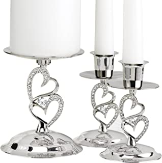 Hortense B. Hewitt Sparkling Love Set Candle Stands, 4-Inch, Nickel-Plated