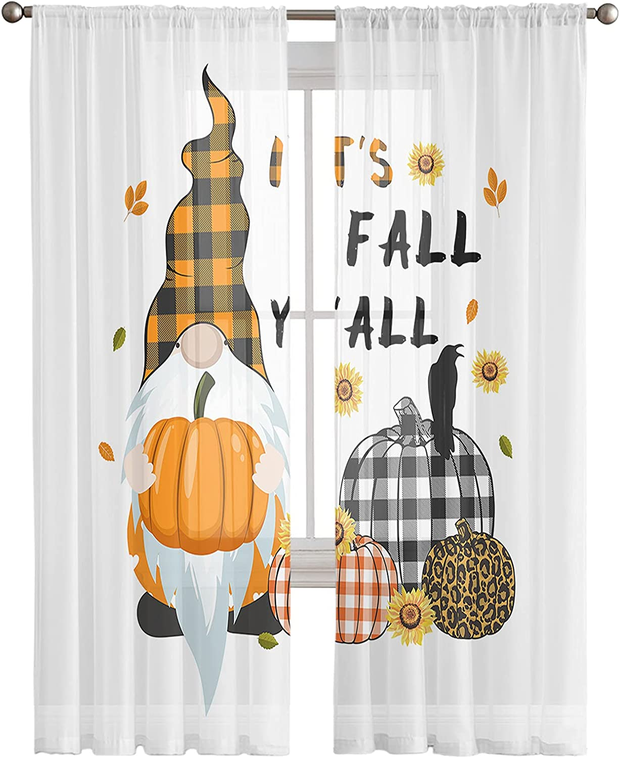 Thanksgiving Gnome Sheer Curtains 2 Window Panels R Ultra-Cheap Deals Bombing new work with Drapes