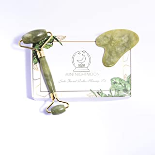 2019 Premium Jade Roller and Gua Sha Set For Face by MintnightMoon - Genuine 100% Green Jade with Scraping Stone Tool - Natural Anti Aging Wrinkle Neck Massager Eye Depuffer