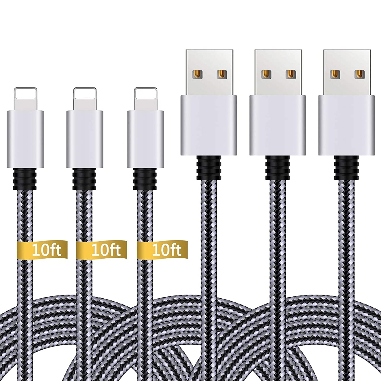 iPhone Charger,3Pack 10FT Lightning to USB Cable Nylon?Braided Charging Cord Compatible with iPhone X 8 Plus 8 7 Plus 7 6 6S 6 Plus 5S SE iPod iPad Mini Air Pro (Black Gray)