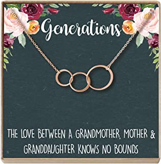 Generations Gift Necklace for Grandmother, Mom & Granddaughter, 3 Asymmetrical Circles