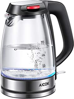 Electric Kettle Glass Tea Kettle, Cordless Water Kettle with Strong Borosilicate Glass, Dual Safety Locker, British Strix for Boil Dry Protection and Auto Shut off Function,1500W, 1.7L, Aicok