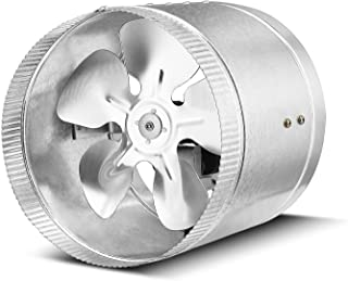 Flexzion Inline Duct Fan Booster - (8 Inch, 420 CFM) Exhaust Blower Vent Air Extractor Ventilation System HVAC Low Noise Quiet Operation with Aluminum Blade & Grounded Power Cord