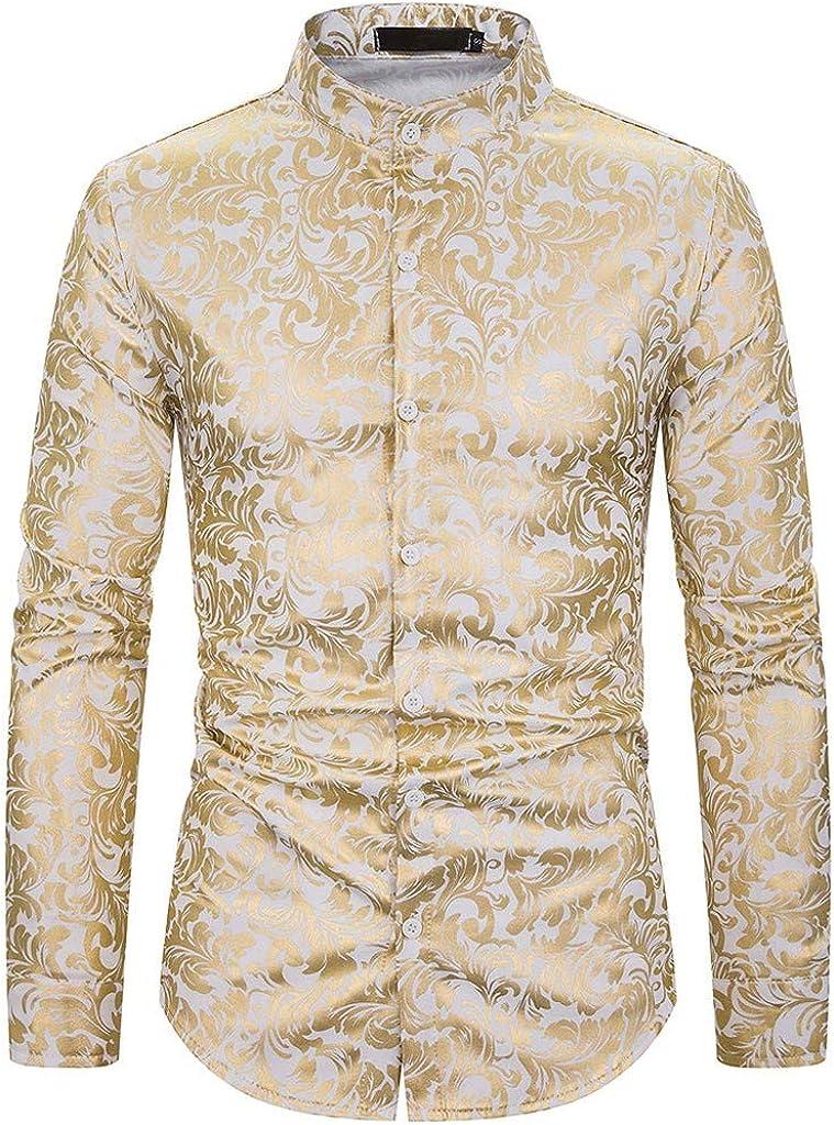 Holzkary Men's Hipster Button Down Dress Shirt for Work Slim Fit Print Turn-Down Collar Tops Long Sleeve Shirts
