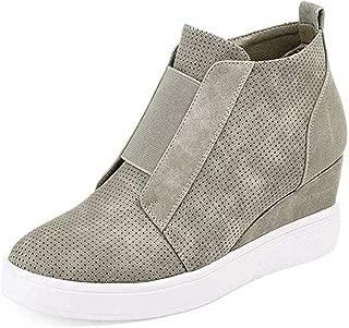 Womens Wedge Sneakers Fashion High Top Side Zipper Platform Booties Flat Shoes