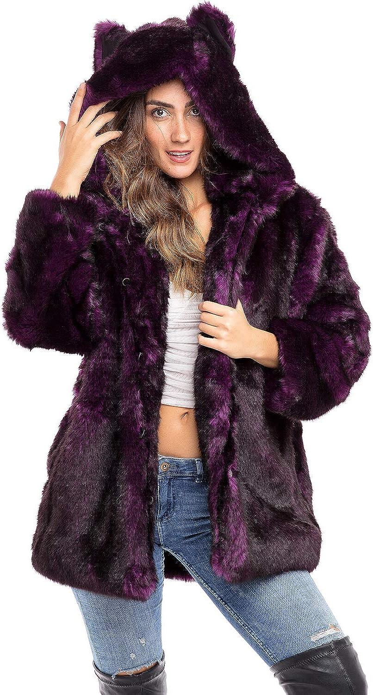 Alexander Del Rossa Women's Short Faux Fur Coat with Hood, Warm Plush Jacket