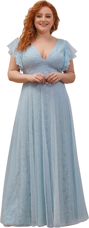 10+ Websites with 1940s Dresses for Sale Ever-Pretty Womens Double V-Neck Floral Lace Plus Size Evening Dress 0857-PZ  AT vintagedancer.com
