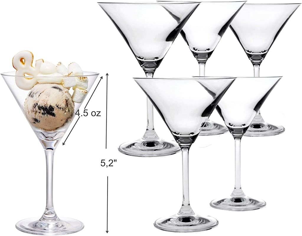 Mini Martini Shaped Glasses Set Of 6 4 5 Ounce Perfect Desserts Glasses With Stem