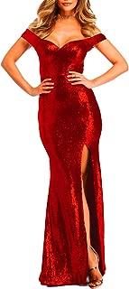 Women's Off Shoulder Sequins Evening Dress Split Mermaid Prom Gown Ypm464