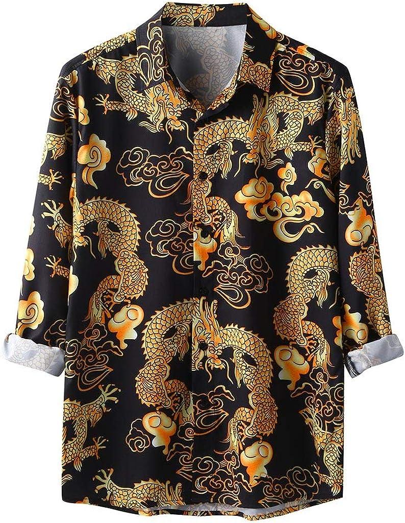 HONGJ Boho Shirts for Mens, Button Down Ethnic Vintage Lapel Hawaiian Shirt Long Sleeve Loose Casual Vacation Beach Tops