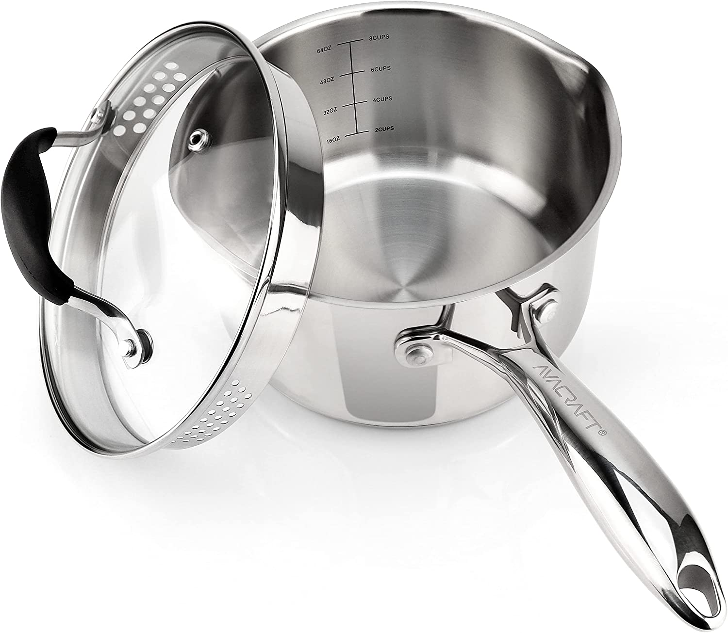 AVACRAFT Stainless Steel Saucepan With Glass Lid, Strainer Lid