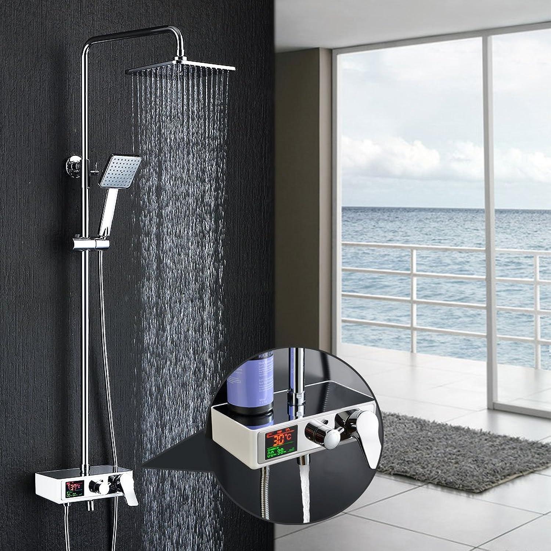 Homelody 3-Funktion Duschsystem mit LCD Duschset Duscharmatur Dusche Regendusche inkl.Armatur Rainshower Handbrause Duschstange für Bad Badewanner