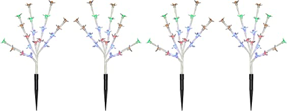 WeRChristmas Cherry Blossom Tree Pathway Christmas Lights with 80-LED, 30 cm - Multi-Colour, Set of 4