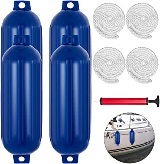 Mophorn Ribbed Twin Eyes Boat Fender Pack of 4 and Pump to Inflate (Blue, 8.5 x 27 inches)