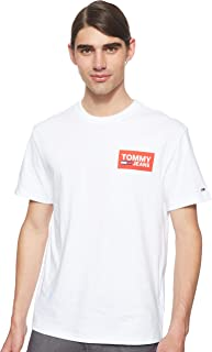 Tommy Jeans Men's TJM Back Multilogos T-Shirt, (Classic 100), Medium