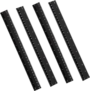 4 Packs Plastic Straight Rulers Plastic Rule Measuring Tool for Student School Office (12 Inch, Black)