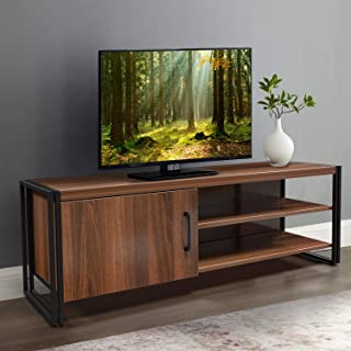 amzdeal TV Stand Cabinet for TVs up to 50 inch, Wood Entertainment Center with Sturdy Metal Frame Living Room Media Console with Storage Door and 2 Shelves,44x15.7x11.8 Inch,Walnut Brown