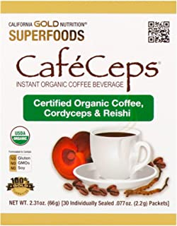 California Gold Nutrition, CafeCeps, Certified Organic Instant Coffee with Cordyceps and Reishi Mushroom Powder, 30 Packet...
