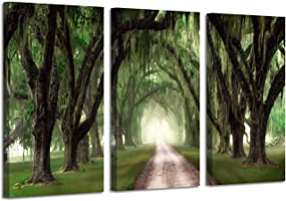 Oak Tree Canvas Painting Prints: Forest Artwork Landscape Path Picture Wall Art on Wrapped Canvas for Living Room (26'' x 16'' x 3 Panels)