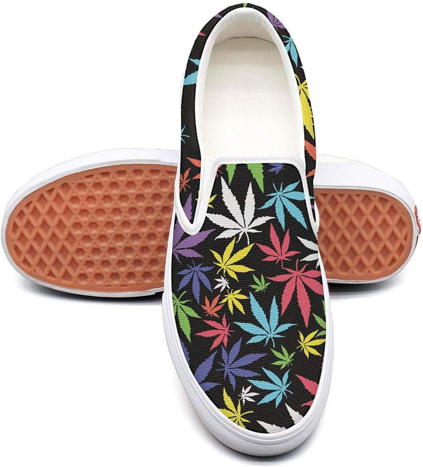 Lalige Green Cannabis Wall Art Women Vintage Canvas Slip-ONS Walking shoes