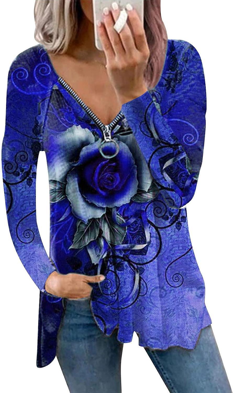 Long Sleeve Shirt Women, Womens Fashion V Neck Tie Dye Zipper Pullover Sweatshirts Loose Casual Shirts Blouse Blue
