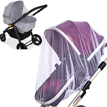 2 Pack Baby Mosquito Net for Strollers Carriers Car Seats Cradles, Portable Durable & Long Lasting Infant Insect Shield Netting (White)