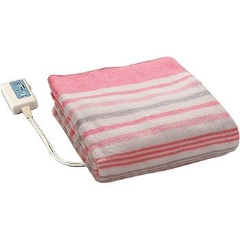 広電(KODEN) 電気毛布 敷き 140×80cm ピンク ボーダー柄 洗える ダニ退治 省エネ スライド温度調節 VWS551-P
