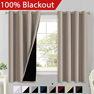 100% Blackout Curtains for Living Room Double Layer Faux Silk Curtains Room Darkening Thermal Insulated Energy Saving Grommet Window Treatment Panels (Khaki, 52 by 63-inch)