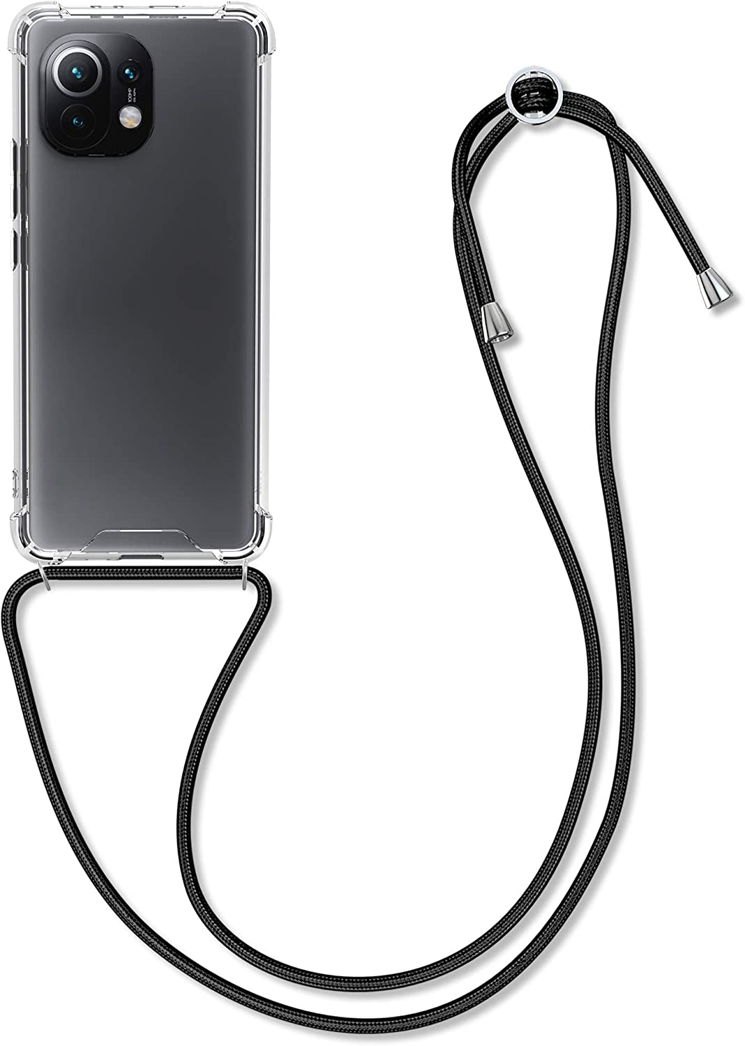 kwmobile Crossbody Case Compatible with Xiaomi Mi 11 - Case Clear TPU Phone Cover w/Lanyard Cord Strap - Black/Transparent
