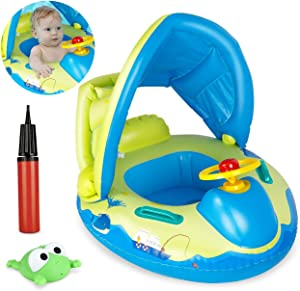 Homga Baby Pool Float, Baby Swimming Ring with Sun Canopy Inflatable for Age 6 - 36 Months Babies, Swimming Boat Pool Seat with Inflator Pump, Frog Toys