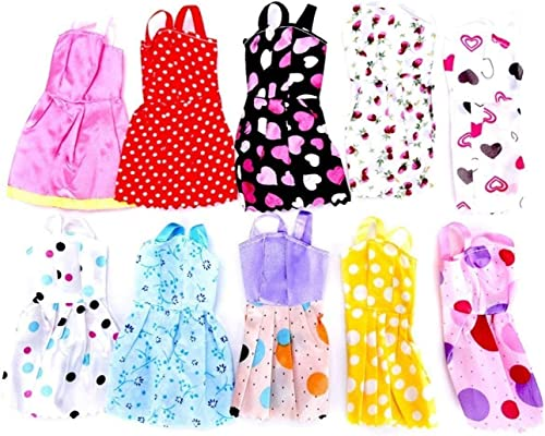 Unique Gift Shop Handmade Party Dress Fashion Clothes Compatible with Any Standard Size Dolls 10 Pieces Multi Color