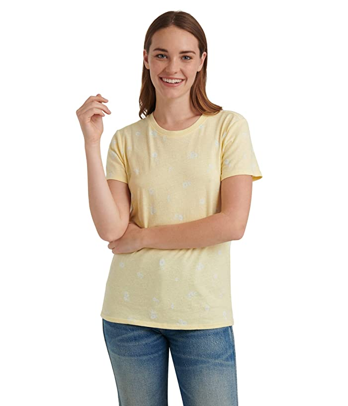 Lucky Brand  Short Sleeve Crew Neck Essential Printed Tee (Yellow Multi) Womens Clothing