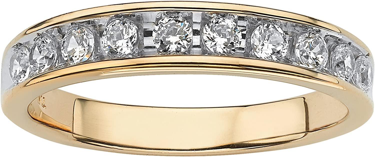 Men's Yellow Gold-Plated Sterling Silver Max 50% OFF Cubic Ch Zirconia Free Shipping New Round