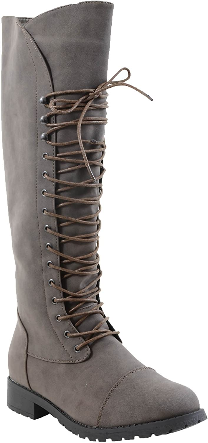 Fourever Funky Grey Vegan Leather Toe Cap Lace-Up Knee High Women's Riding Boots