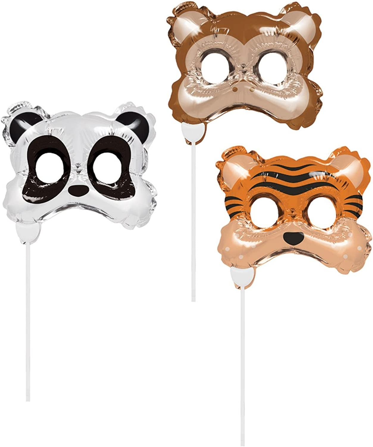 Creative Congreenting 8C331815 Set of 3 Inflatable Photo Booth Animal Masks, Multicoloured