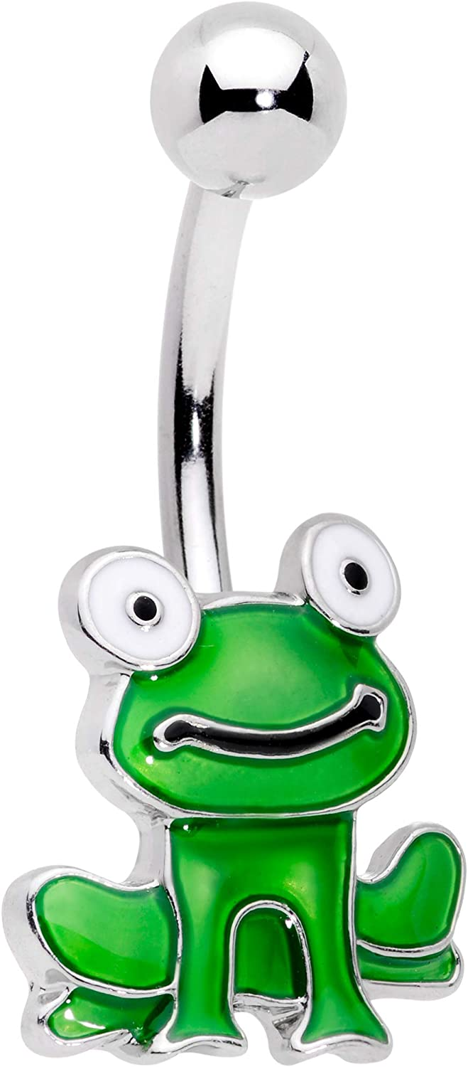Body Candy Womens 14G 316L Stainless Steel Navel Ring Piercing Green Frog Belly Button Ring