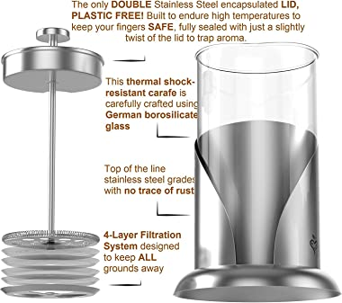 French Press Coffee Maker - BEST Presses Makers - 34 Oz, 8 Cup - The Only Encapsulated Lid Stainless Steel 304 NOT Plastic -