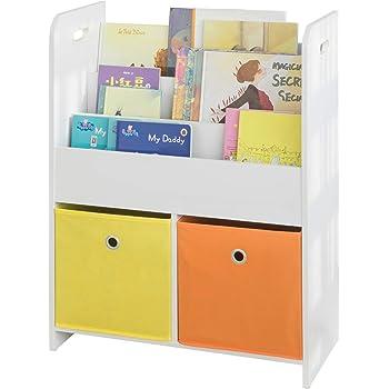 2 en 1 : Bibliothèque + Coffre de rangement en bois pour enfants Coloris ROSE et BLANC.