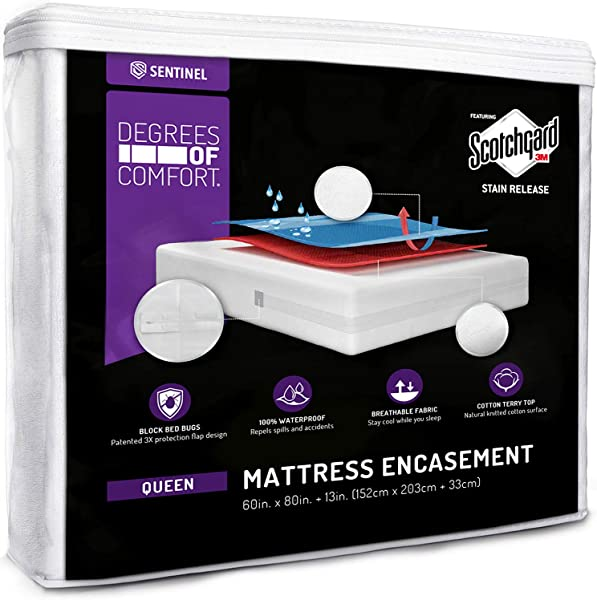 Degrees Of Comfort Waterproof Zippered Mattress Encasement Breathable Bed Bug Mattress Cover With Advance Patented Zipper Flap Design 3M Scotchgard Stain Release Technology Fits 13 15 Queen