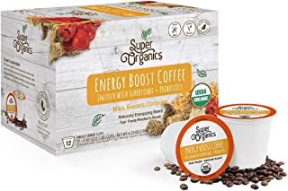 Super Organics Energy Boost Coffee Brew Cups with Superfoods & Probiotics | Keurig K-Cup Compatible | Energizing, Stamina ...