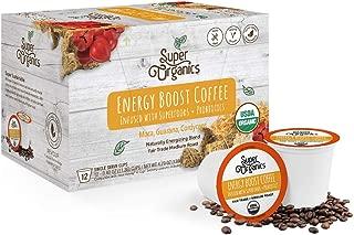 Super Organics Energy Boost Coffee Brew Cups with Superfoods & Probiotics | Keurig K-Cup Compatible | Energizing, Stamina | Medium Roast, USDA Certified Organic, Vegan, Non-GMO & Fair Trade, 72ct
