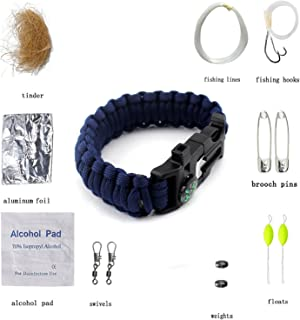 Freehawk 550 Paracord Survival Bracelet/Emergency Kit with 15 Tools, Outdoor Parachute Cord Wristband/para Cord Survival Kit Gear Compass Flint Fire Starter Scraper Whistle for Camping,Hiking,Fishing