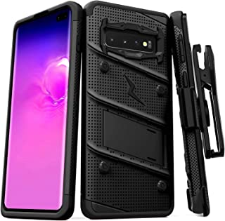 ZIZO Bolt Series Galaxy S10 Case | Military-Grade Drop Protection w/Kickstand Bundle Includes Belt Clip Holster + Lanyard Designed for 6.1 Samsung S 10 Black Black