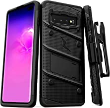 ZIZO Bolt Series Galaxy S10 Plus Case Military Grade Drop Tested with Built in Kickstand Holster Black Black