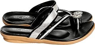 Womens Casual/Dressy Open Toe Flower Toe Ring Comfort Slip On Slide Sandals,Black,8.5