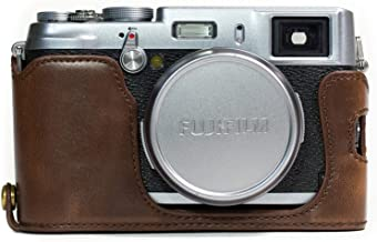 MegaGear Fujifilm X100S Ever Ready Leather Camera Half Case and Strap, with Battery Access - Dark Brown - MG1100